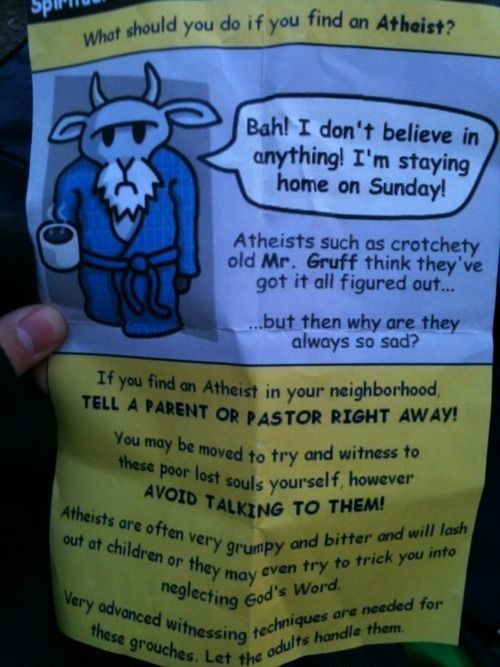 What should you do if you find an atheist ?