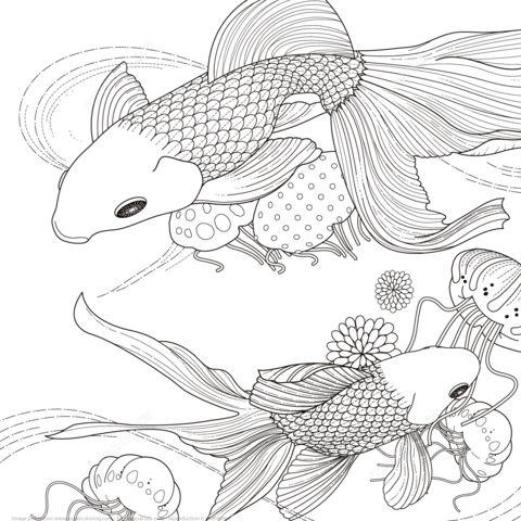 Golden Fish coloring page from Japanese Designs category. Select ...