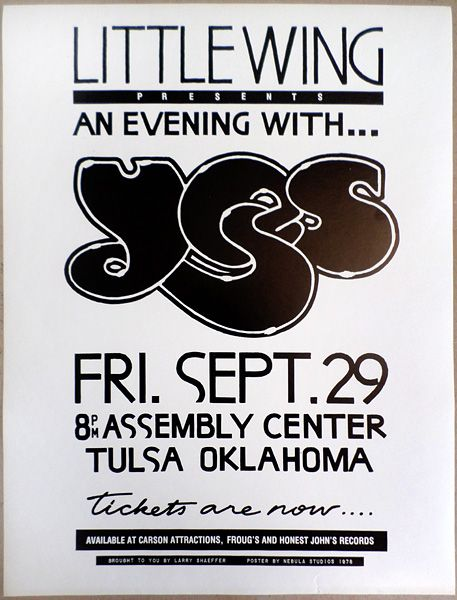 1978 Yes Tulsa Concert Poster Music Concert Posters Concert