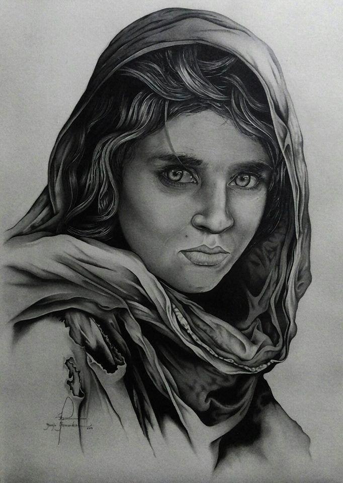 Portrait of sharbat gula made by mayank batham tattoo artist at bhopal india