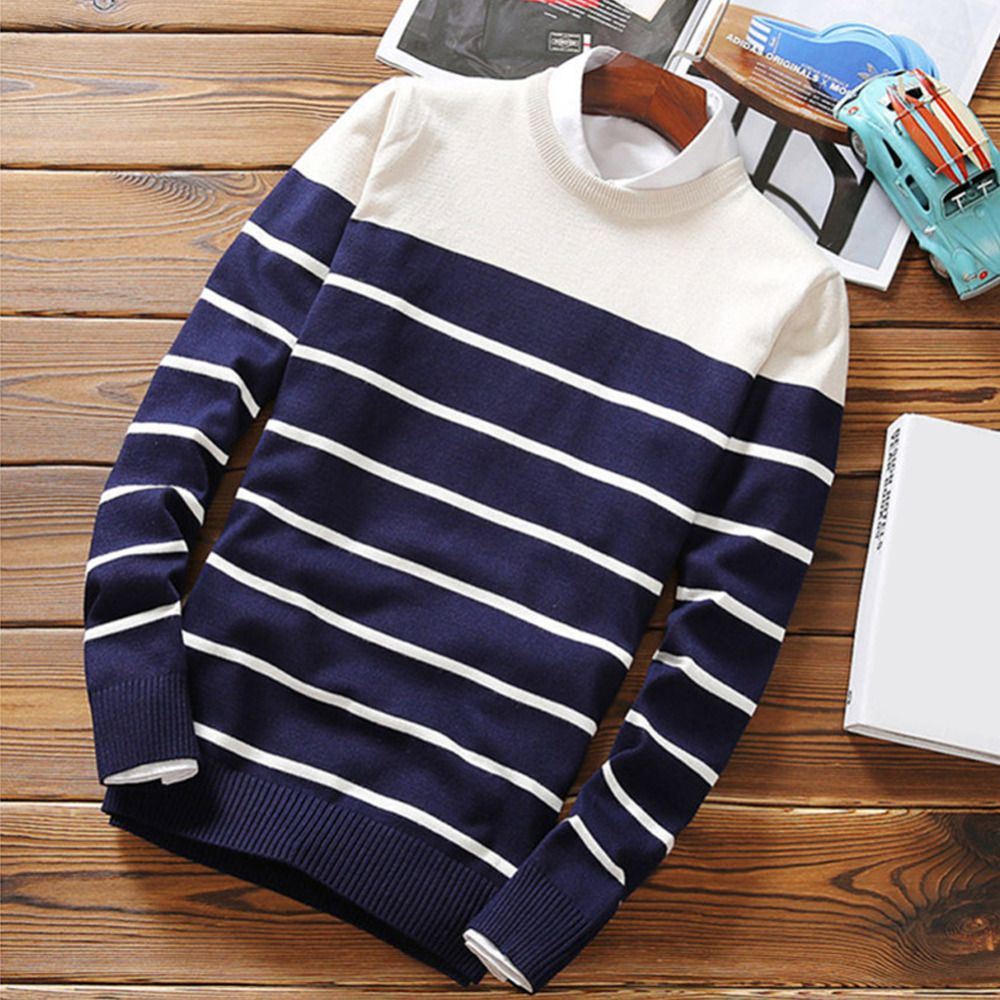 FUNOC 2016 Autumn Winter NEW Men Sweater Striped Pull Homme Pullover Men Casual Leisure Jersey Hombre Cotton Plus Size
