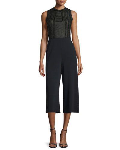 wide leg jumpsuit - Black Red Valentino Fashion Style hHV5k