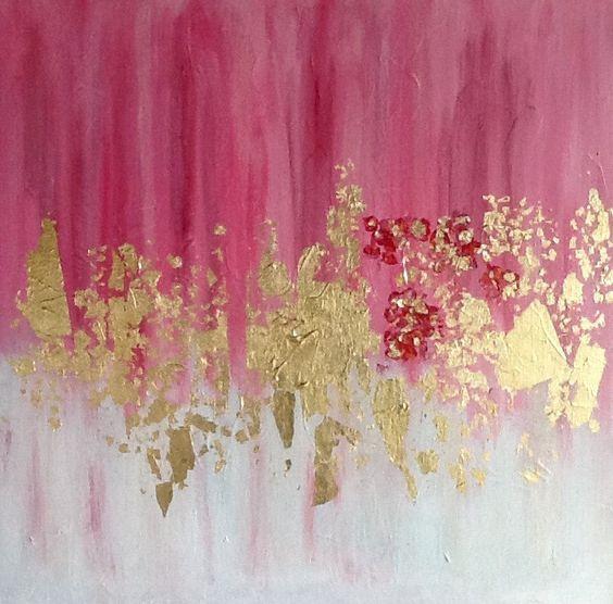 Peinture Abstraite De Rose Et D Or Acrylique Avec Application De Feuille D Or Peintures Par Magaline Arts Peinture Abstraite Peinture Tableau Abstrait