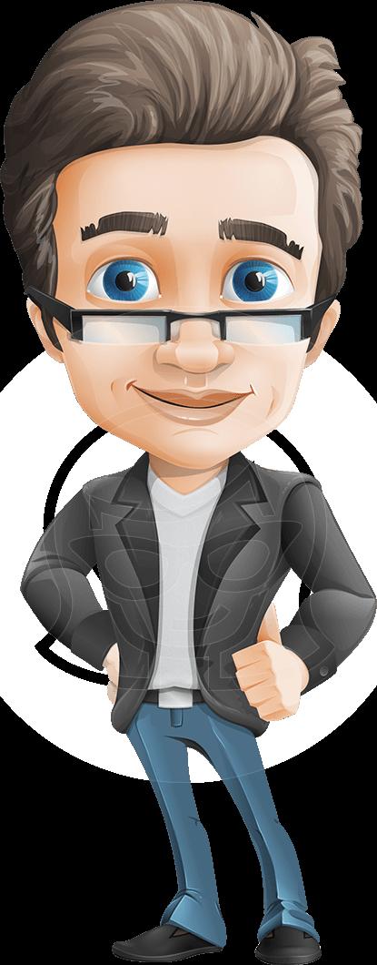 Cartoonsmart Character Design : Smart businessman vector character with glasses comes