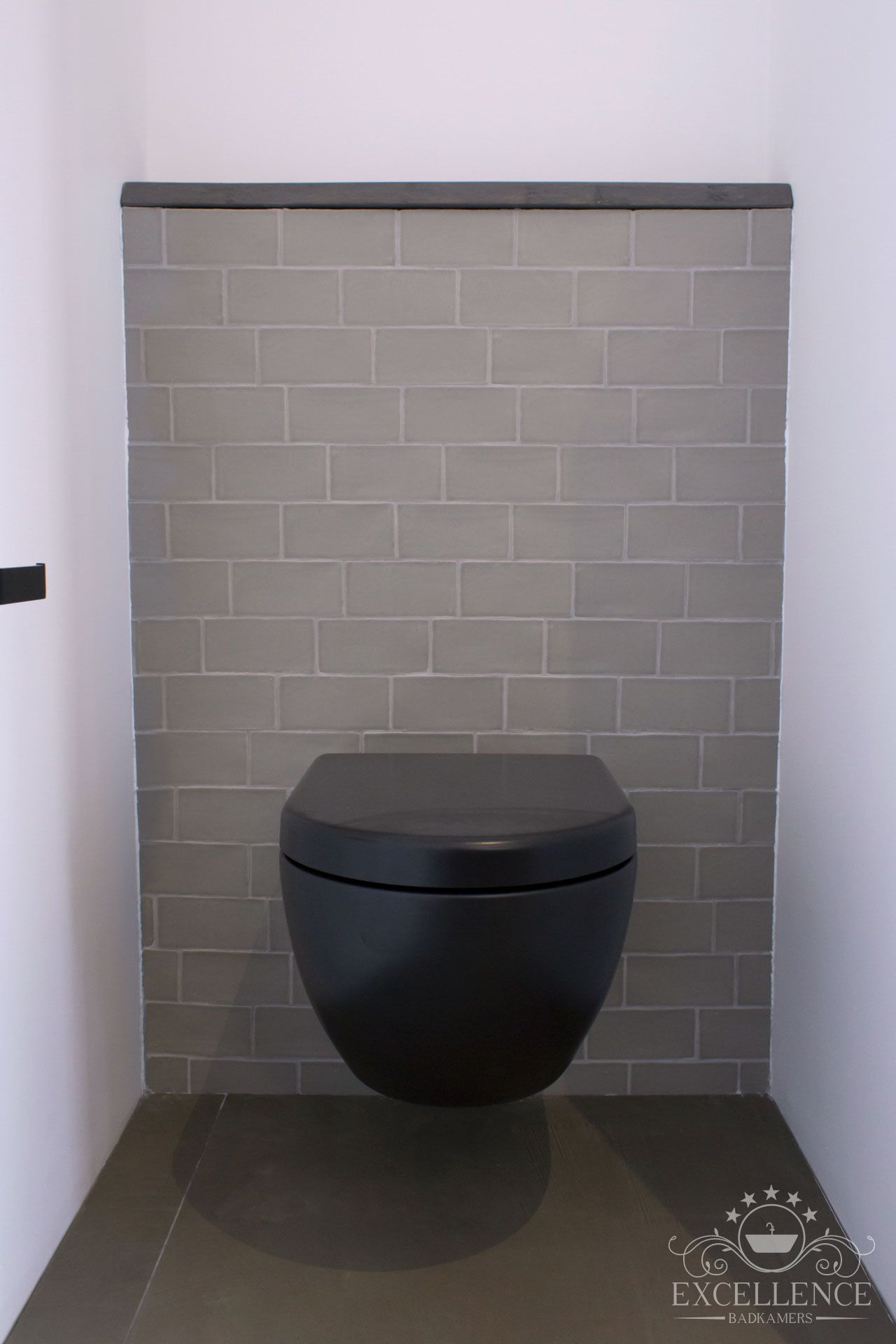 Maatwerk badkamer. Design wandcloset mat zwart. #excellencebadkamers ...