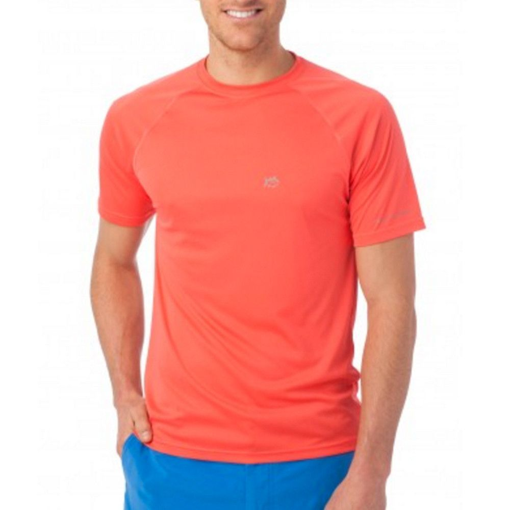 Southern Tide Tide To Trail Performance T-Shirt in Hot Coral