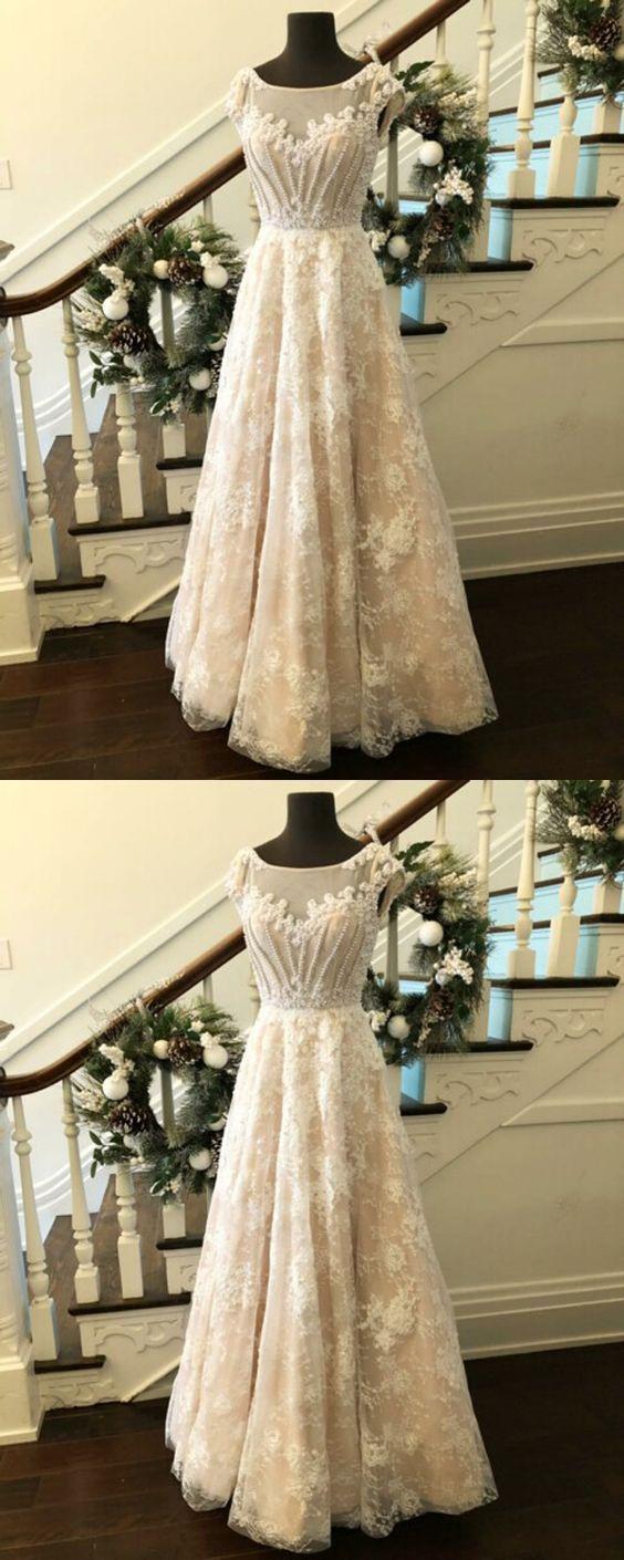 Elegant aline bateau cap sleeveless lace long prom dress with