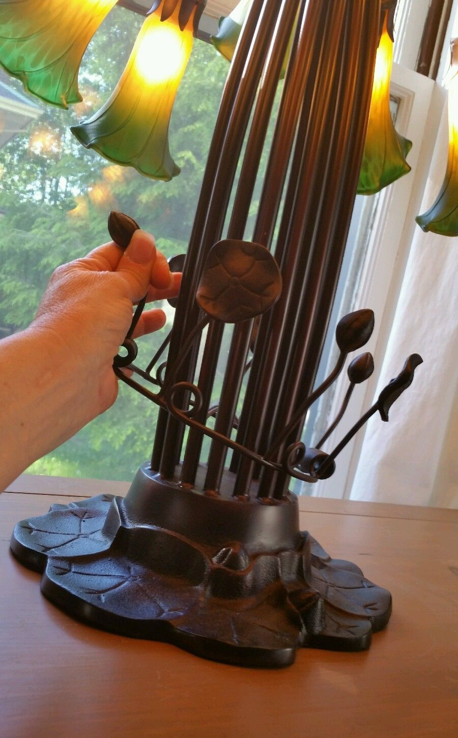 Details about Tiffany Style Antique Bronze Hot Air Balloon