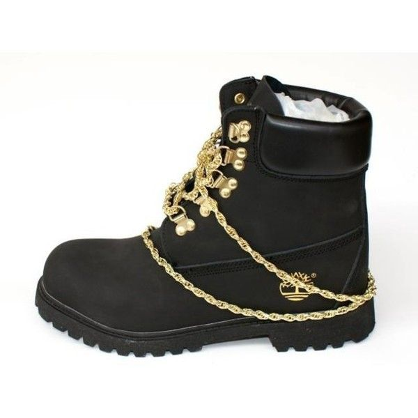 ignorancia poco imitar  black timbs with gold chains
