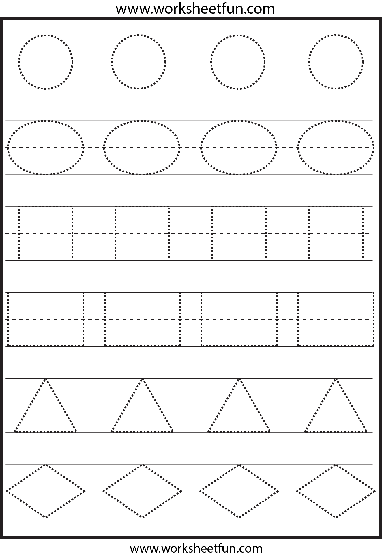 math worksheet : tracing shapes this is not the right image the ones on the page  : Free Shape Worksheets For Kindergarten