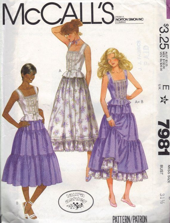 McCall\'s Designer Sewing Pattern 80s Laura Ashley Peasant Blouse ...