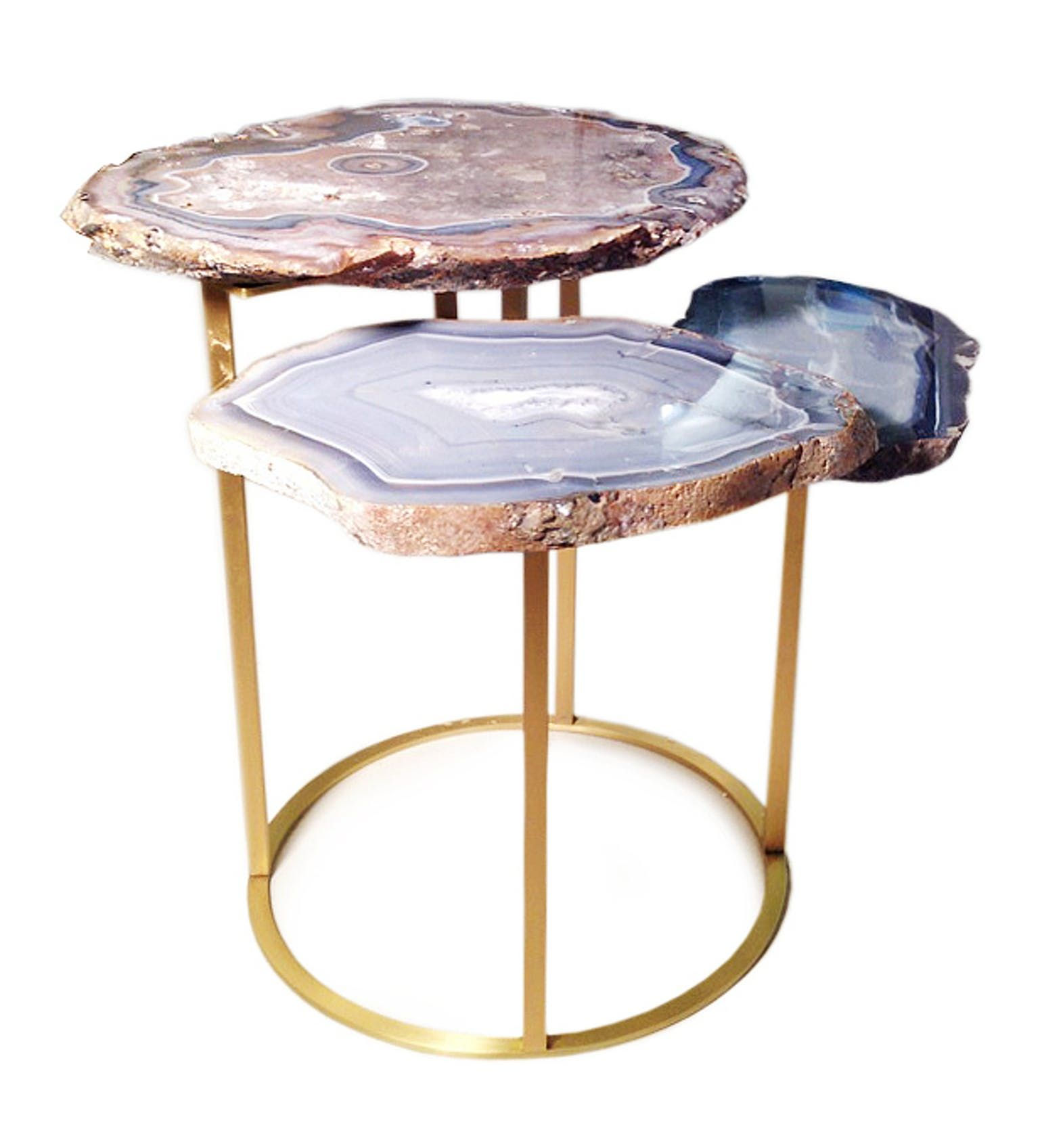 Quinn Three Tier Agate Coffee Table Contemporary Metal Stone