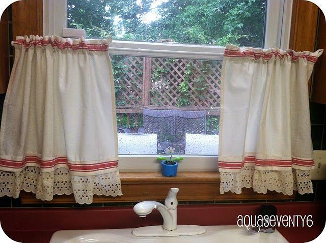 tea towel curtains  cute  Crafty Repurposing