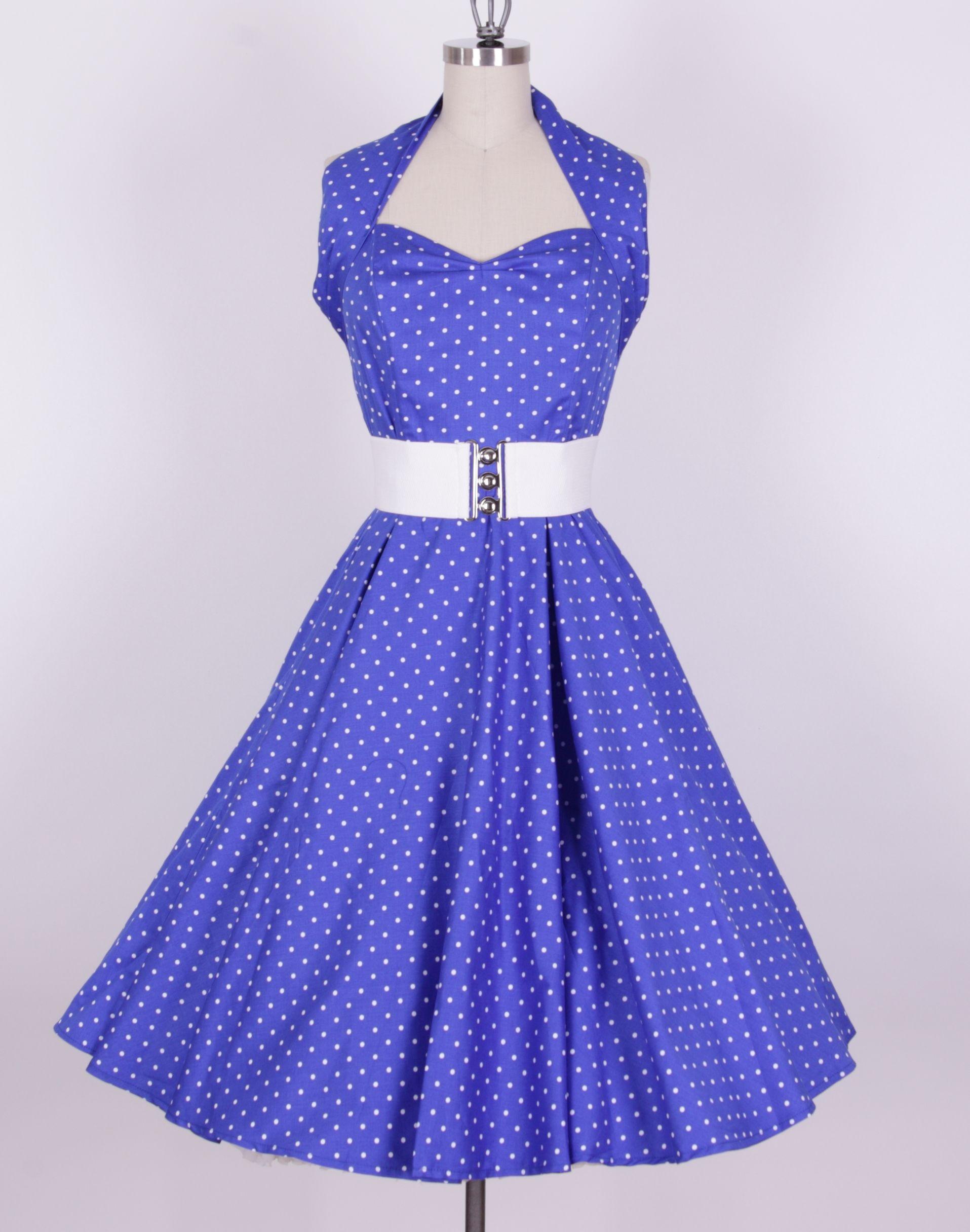 Blue Dress | ... :: 1950s Dresses :: 50s Polka Dots Blue White ...