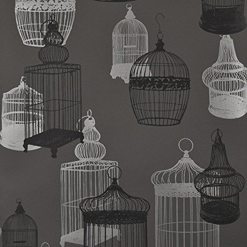 Designer Selection Silhouette Birdcage Wallpaper Charcoal Silver 967 897 011 Designer Selection Birdcage Wallpaper Wallpaper Wallpaper Warehouse