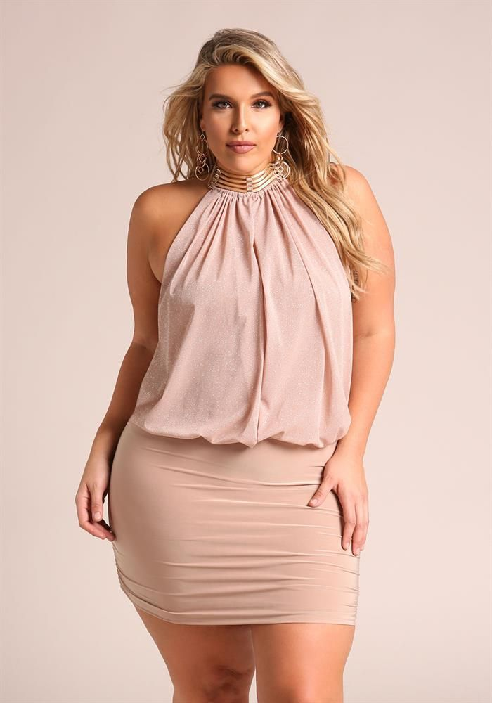 Plus Size Clothing   Plus Size Shimmer Layered Neck Chain Bodycon ...