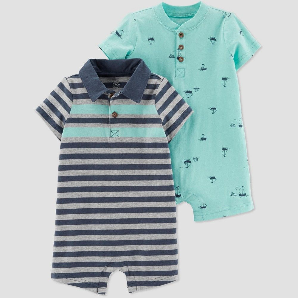 a53e40aaa Baby Boys' 2pk Striped and Boat Rompers - Just One You made by carter's  Green/Navy Blue Newborn