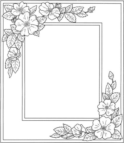Photo frame with flowers coloring page printables for Picture frame crafts for adults