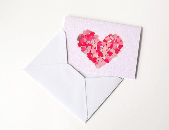 Pink heart greeting card with envelope Valentine by VeraPaperLab