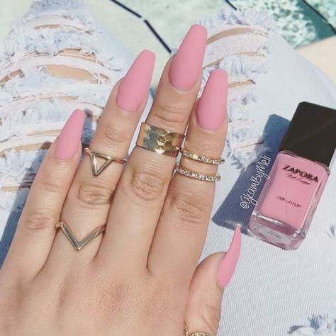 mattepinknailstrendydesignslongcof  pink nails