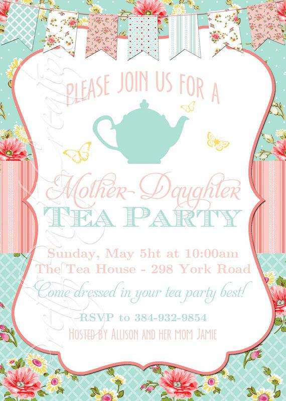 SHABBY CHIC TEA invitation You Print by PrettyPartyCreations Kid - tea party invitation