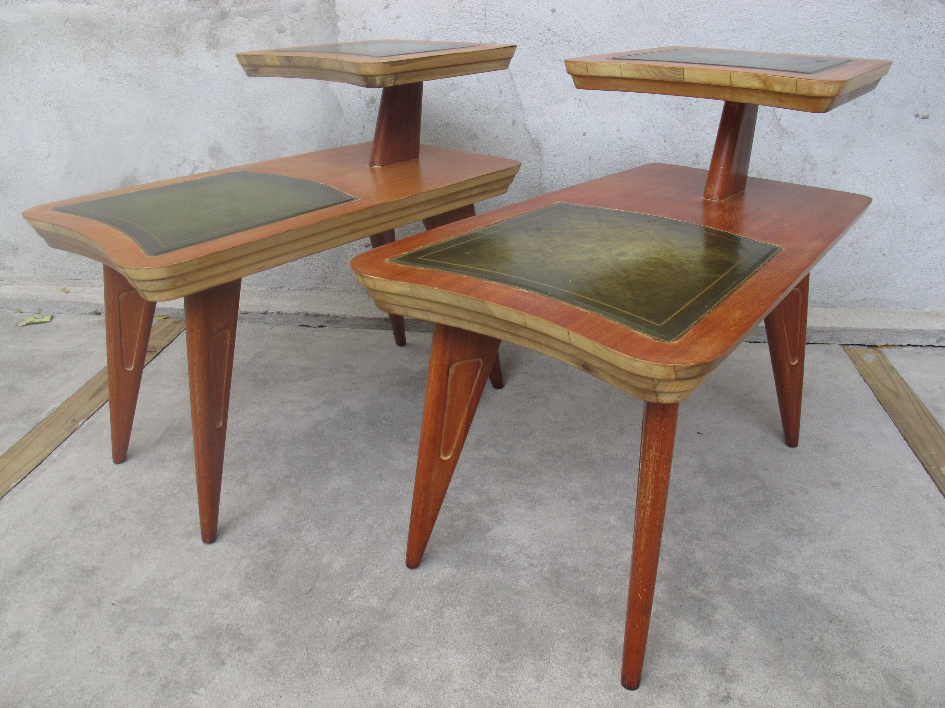 PAIR OF MID CENTURY TWO TIER END TABLES WITH LEATHER INLAYS BY