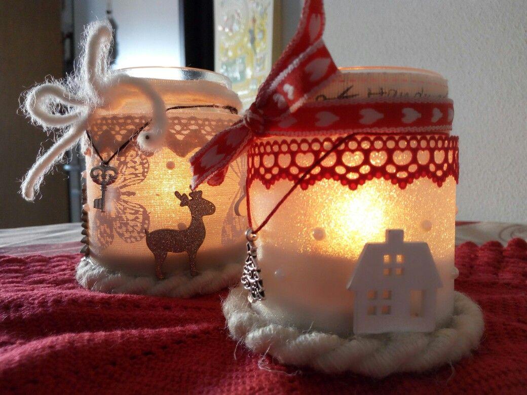 Vasetti di vetro decorati con nastri colorati palline di - Vasetti vetro ikea ...