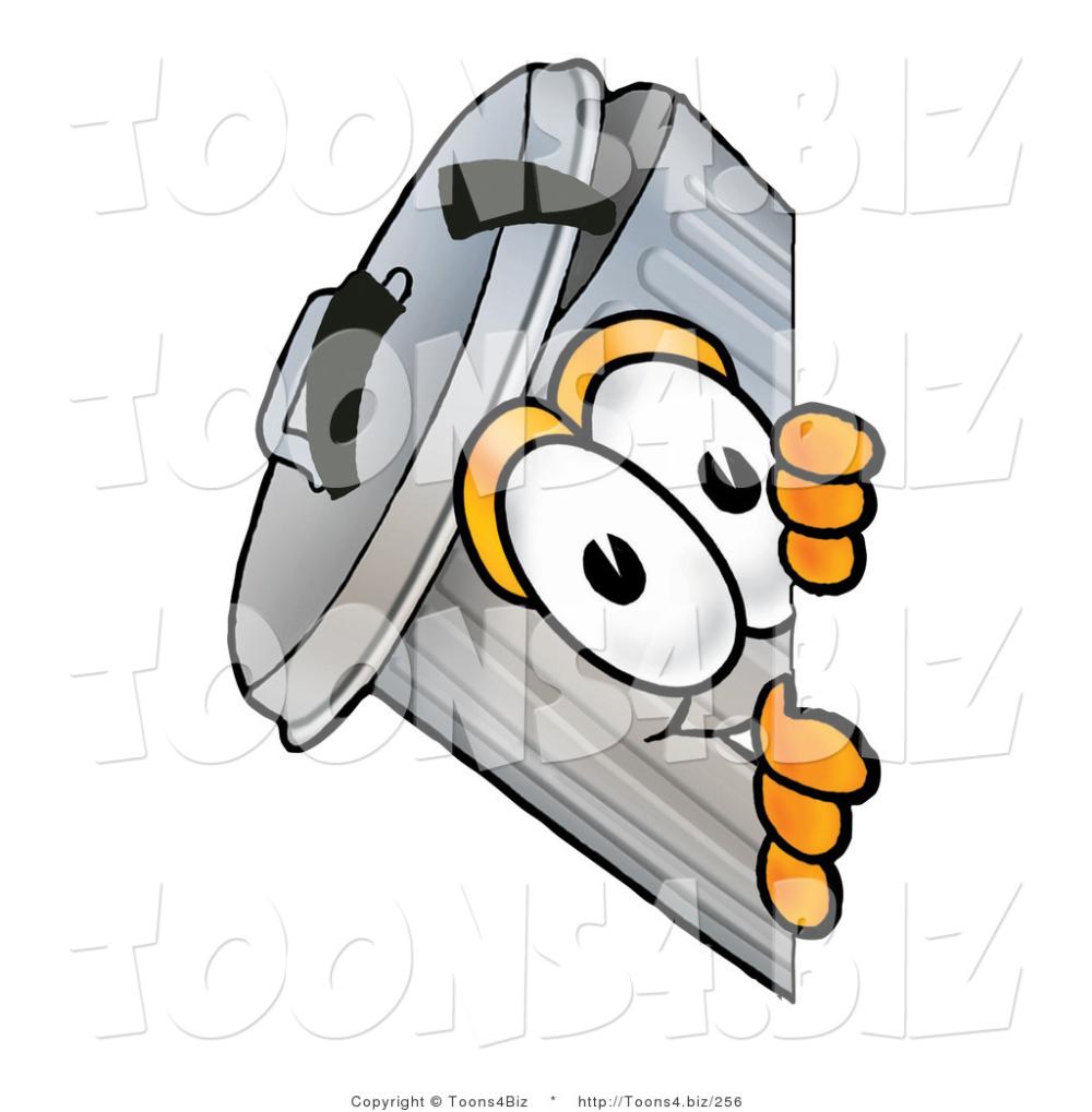 Illustration Of A Cartoon Trash Can Mascot Peeking Around A Corner A Cartoon Cartoon Mascot