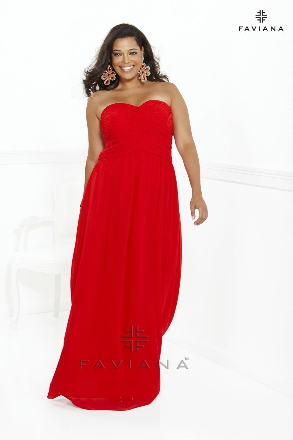Plus size prom dress with sweetheart neckline l faviana wedding