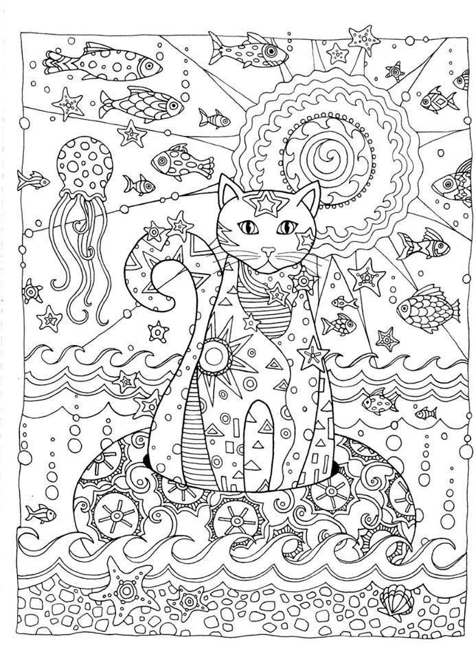 Pin de Linda Lauzon en art | Pinterest | Mandalas, Colorear y Gato