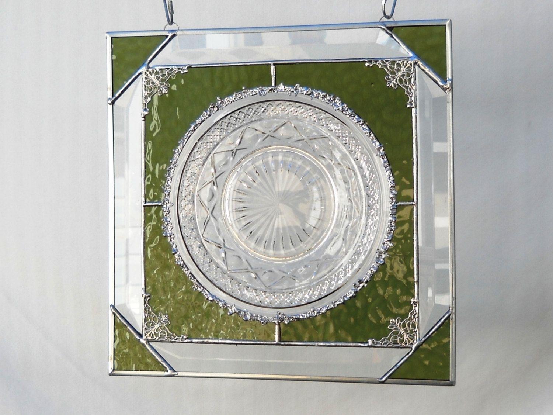 Good Cape Cod Glass Company Part - 10: Vintage Imperial Glass Company Cape Cod Pattern Stained Glass Plate Panel  Window Valance