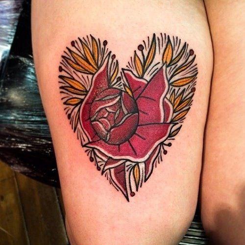 Flower heart design tattoo