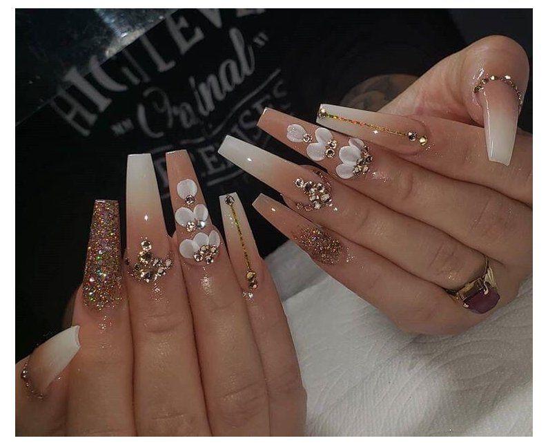 long acrylic nails with rhinestones