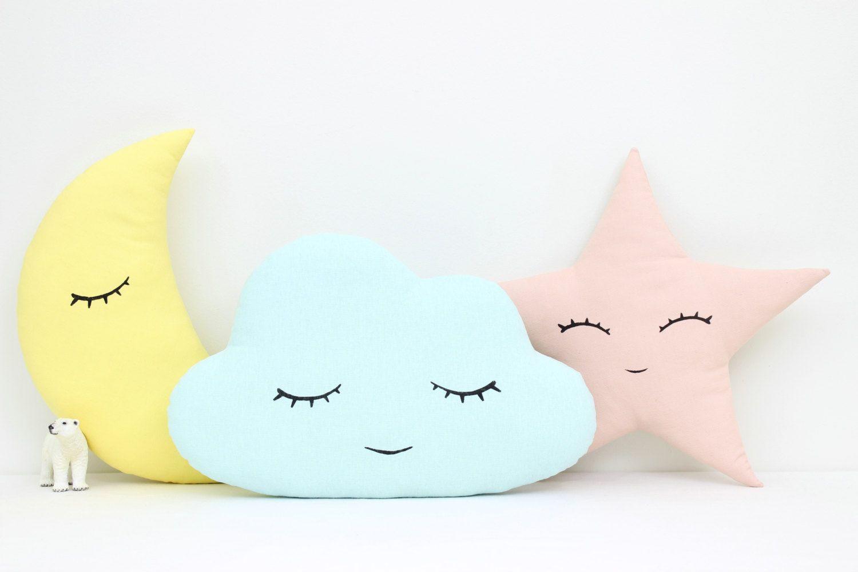 Coussins nuage lune et étoile, coussins enfant, déco chambre bébé