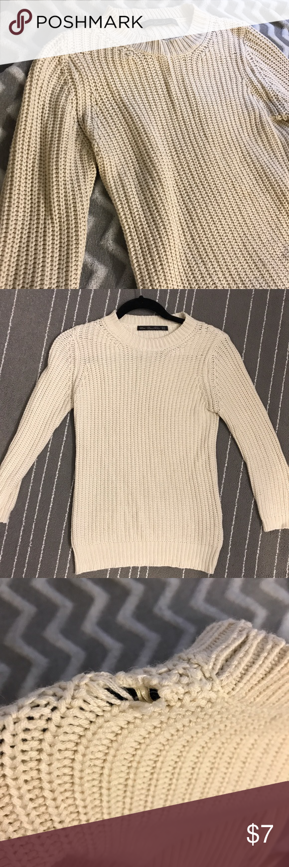 Zara White Knit Sweater w/ mid length sleeves | White knit sweater ...