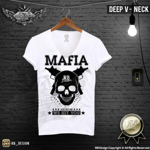 Men's Mafia T-shirt Gangster Skull Uzi Weapon Machine Gun Gangsta Boss Top MD627