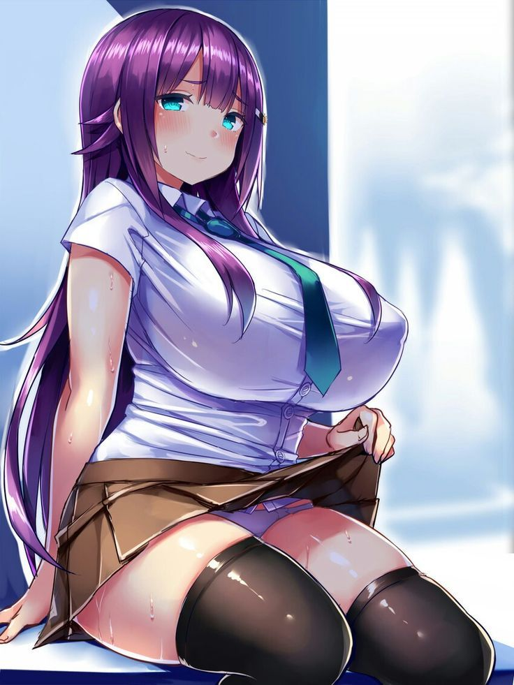 Anime girl with huge tits gets