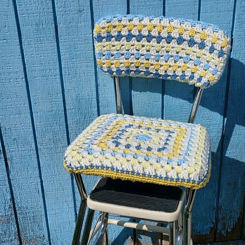 Diy Old Stool New Look With A Crocheted Seat Cover Crochet