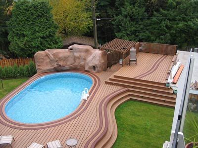 Build Decks Around Above Ground Pool Deck Builder Cost Custom Pools Contractor Company Trex Remodel Repair Treated Cedar Redwood Pine