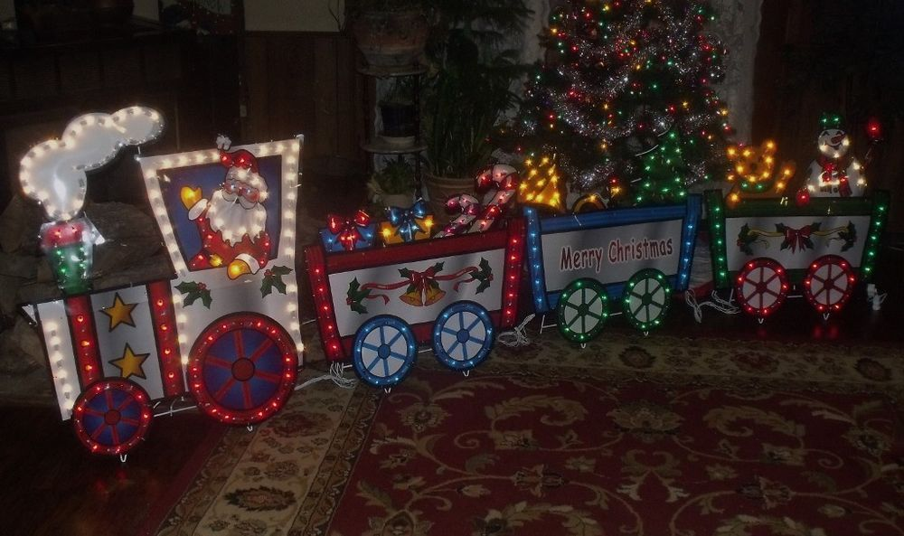 Merry Christmas Outdoor Lighted Animated Motion Lights Santa Train