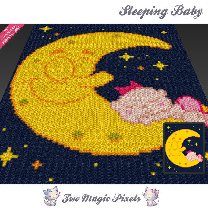 Sleeping Baby c2c graph crochet pattern; instant PDF download; baby ...