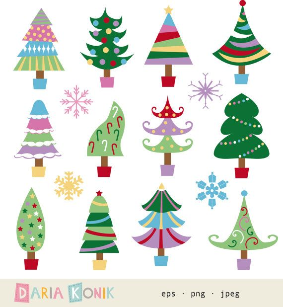 Christmas Tree Clip Art Set Christmas Tree Clipart Holiday Clipart Colorful Christmas Decor Eps Jpeg Png Instant Download Christmas Tree Clipart Whimsical Christmas Trees Whimsical Christmas