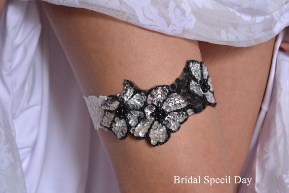 Items Similar To White Lace Black And Silver Wedding Garter Bridal Set Sequins Pearls Handmade On Etsy
