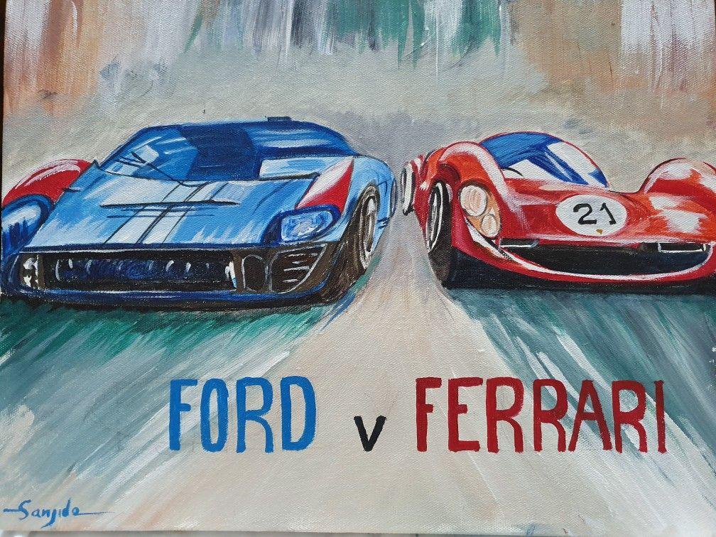 Fordvsferrari Movie Ford Ferrai Caracrylicpainting Acrylic