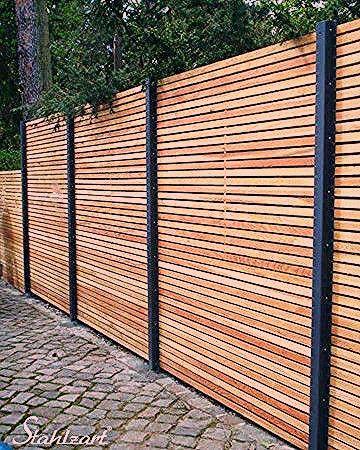 Photo of Sichtschutzzaun Holz Lärche Metall anthrazit modern · STAHLZART – My Blog