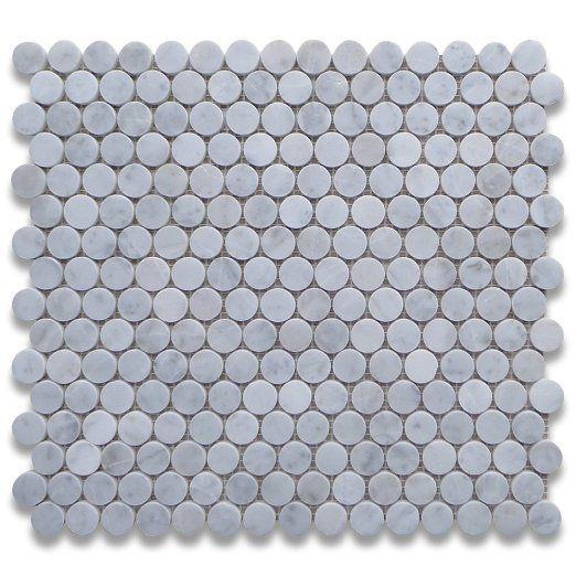 Carrara White Italian Carrera Marble Penny Round Mosaic Tile 3//4 inch Polished