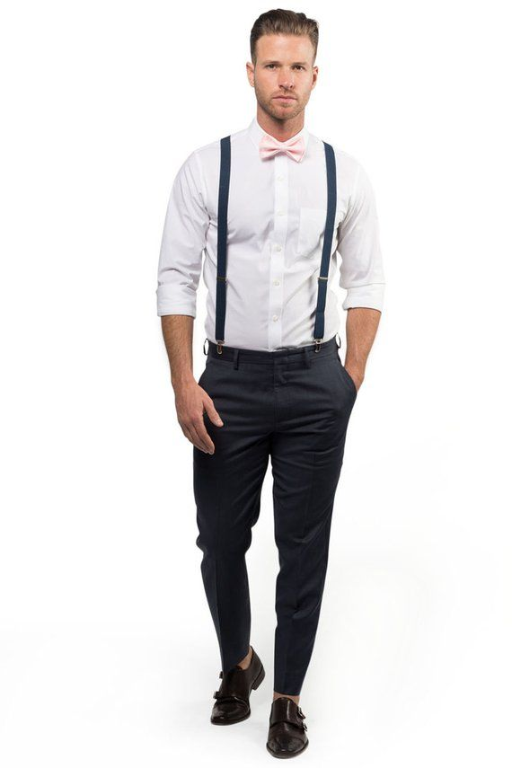 c53828a287b1 Blush Bow Tie & Navy Suspenders with Blush Pocket Square for Baby Toddler  Boy Men