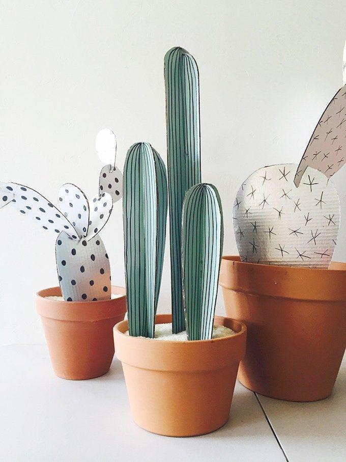Faites des cactus en carton, l'idée déco mignonne et sans risque de piqûres! …   – Décoration intérieure
