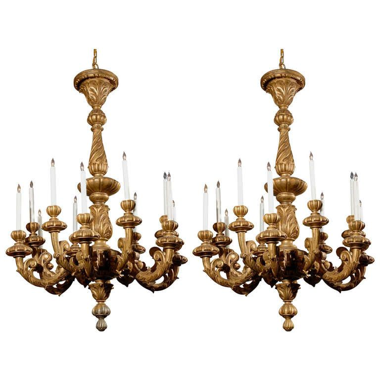 Pair Of Late 19th Century Italian Gilded Wooden Chandeliers With 12 Candles Hand Carved