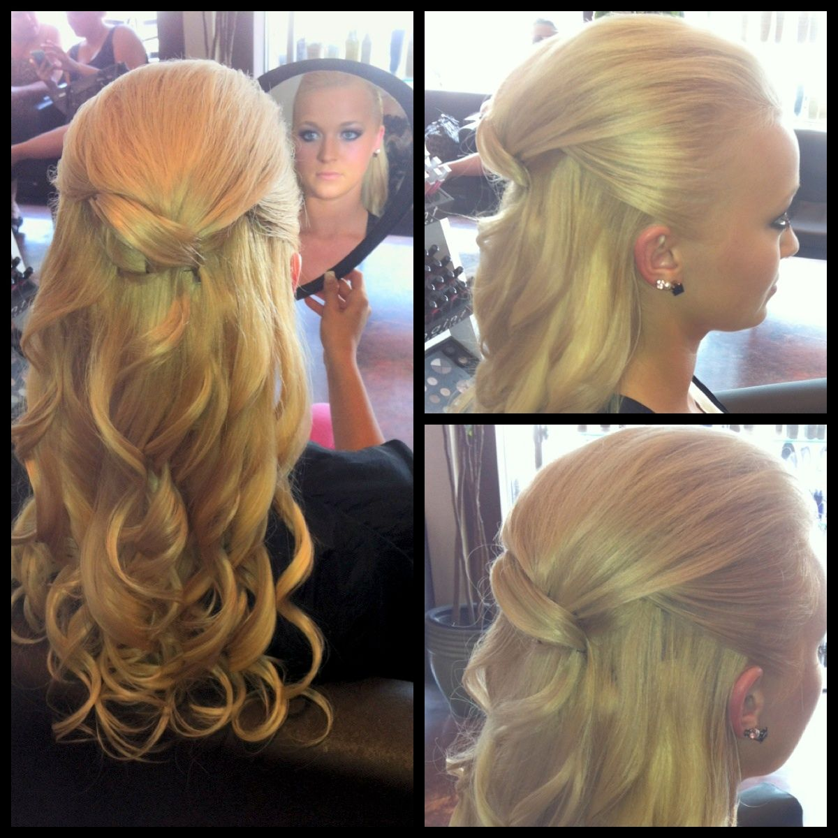 1/2 updo style thin blonde hair with clip in hair extensions